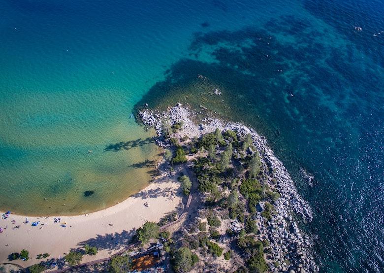 arial shot of a beach