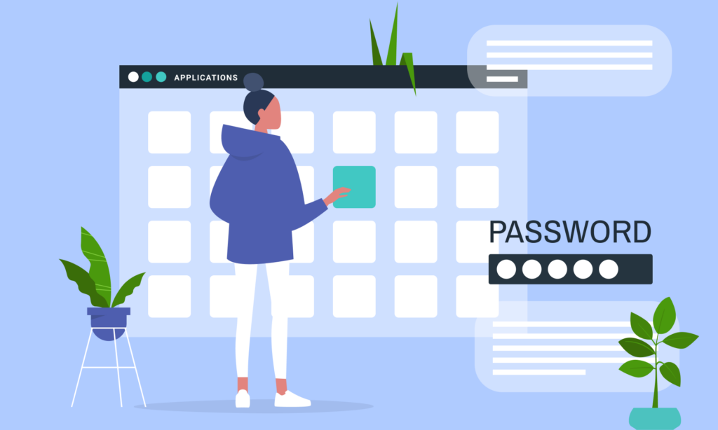 2d graphic of user having one password for all applications - also known as single sign on