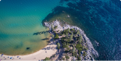 Arial photo of a shoreline and water