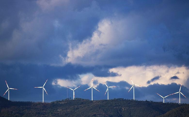 wind turbines on a ridge