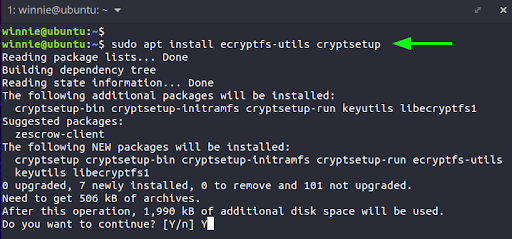 To begin, we will install the software packages that provide encryption on Linux: ecrypt-utils and cryptsetup.