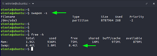 The output confirms that indeed we have a swap partition marked as /dev/sda3. You can further probe the space it occupies using the free command. The output shows that it occupies 8G of space.