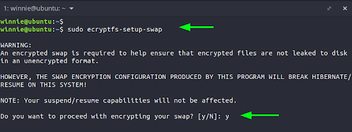 To encrypt the swap space, simply run the command: