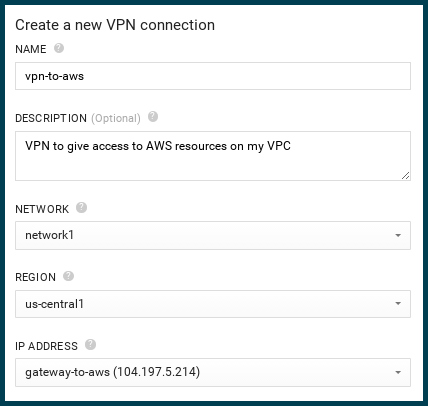 create new VPN connection