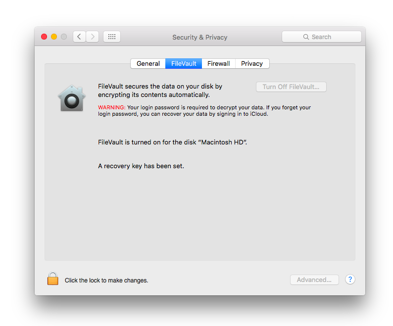 high sierra errors with filevault