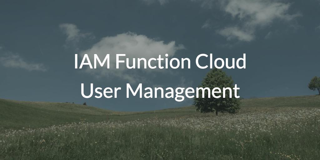 IAM Function Cloud User Management