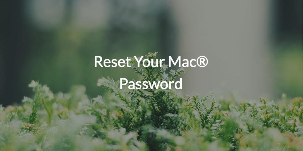 Password reset for Mac