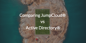 Comparing JumpCloud vs Active Directory over image of a soccer field