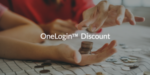 OneLogin Discount written over image of people holding coins