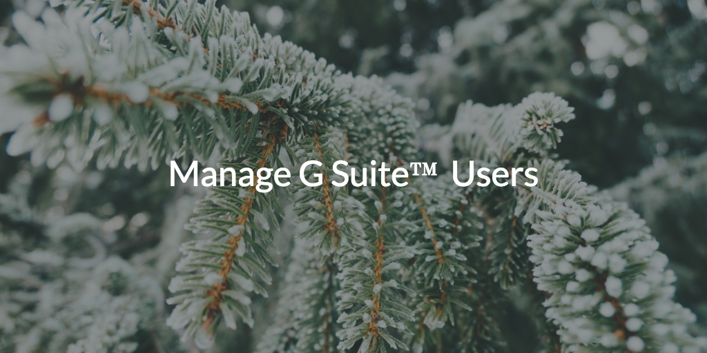 Manage G Suite™ Users
