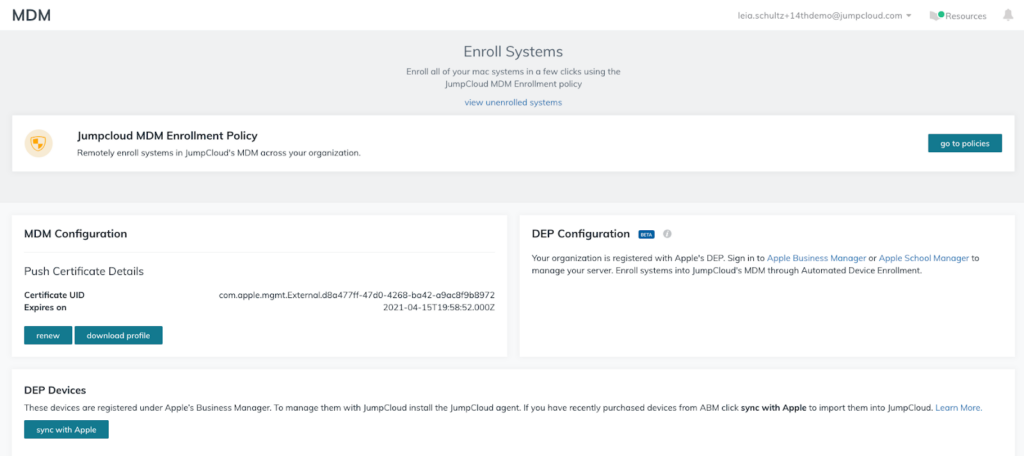 screenshot of JumpCloud Apple MDM enrollment configuration