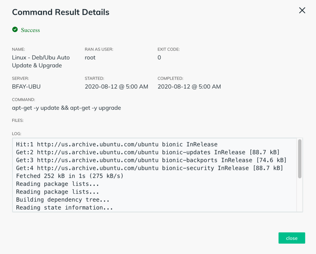 screenshot showing result details of remote Linux command