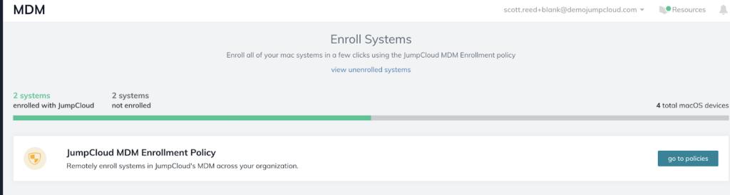 Screenshot of JumpCloud Apple MDM Enrollment summary graph to help IT admins prepare for macOS Big Sur